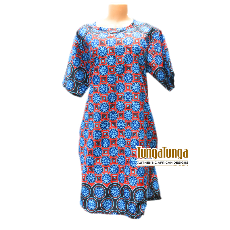 Ankara Shirt Dress Blue