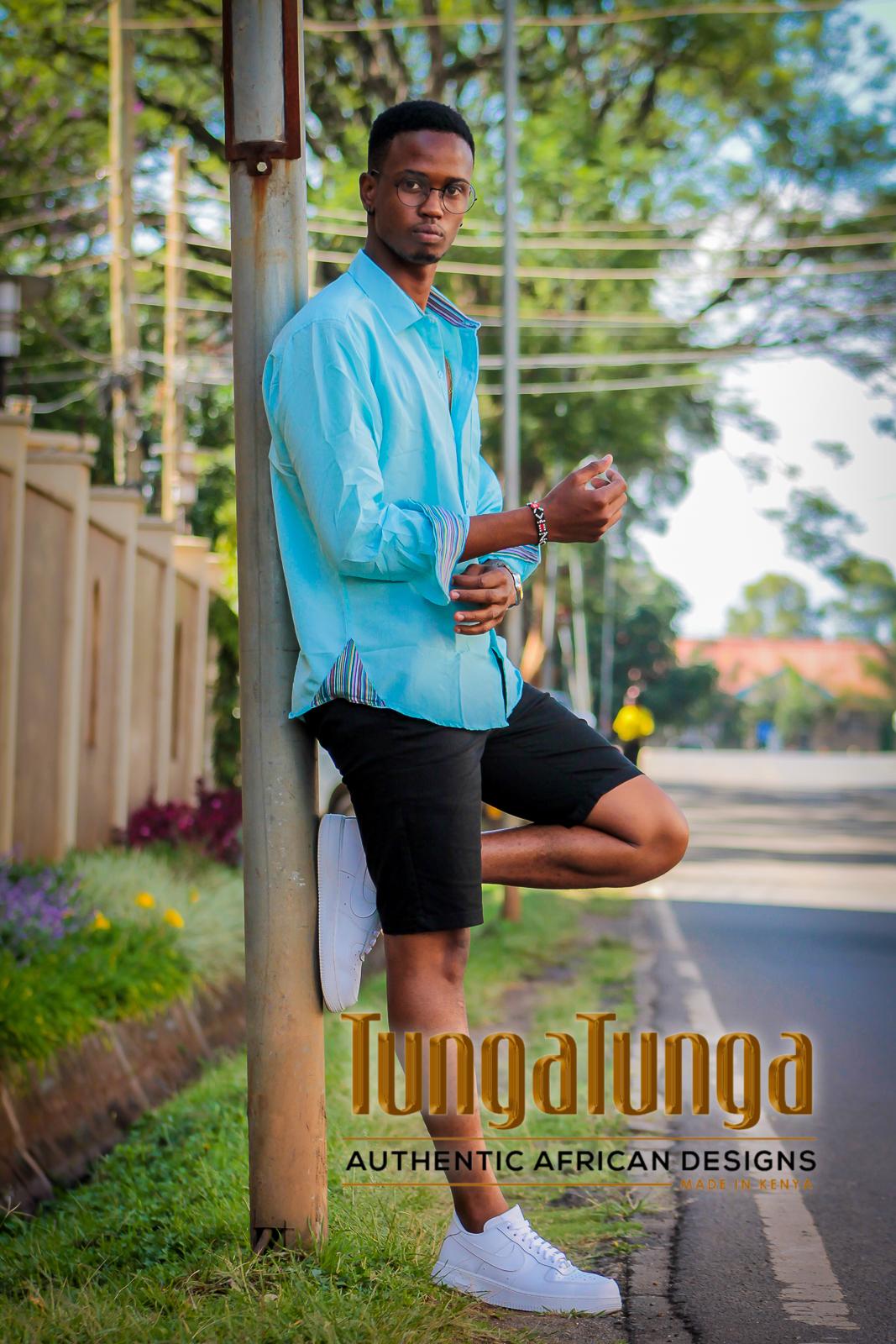 Raha Ocean Blue Kikoy Blended Shirt